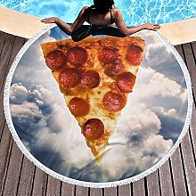 Pizza In The Sky Printed Round Beach Towel Yoga