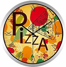 Pizza Shop Glass Wall Clock Kitchen Metal Fashion