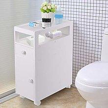 PJLTOP Bathroom Floor Cabinet Storage Cupboard