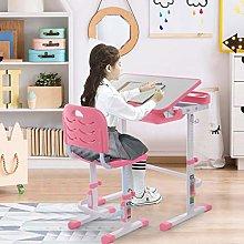 PJLTOP Childrens Desk, Kids Desk and Chair Set,