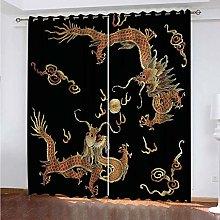 PKTMK Blackout Curtains Chinese dragon print