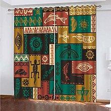 PKTMK Blackout Curtains Ethnic style geometric