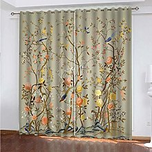 PKTMK Blackout Curtains Flower and bird pattern
