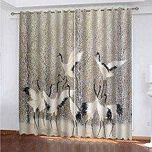 PKTMK Blackout Curtains Forest White Crane Print