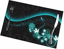Place Mats, Abstract Flowers Washable Table Mats,