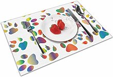 Place Mats Handmade Placemats Colorful Puppy Paw