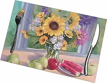 Place Mats Handmade Placemats Flower Painting