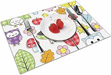Place Mats Handmade Placemats Owl and Bird and