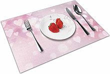 Place Mats Handmade Placemats Pink and Red Heart