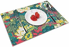 Place Mats Handmade Placemats Red Peacock