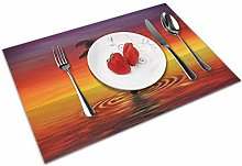Place Mats Placemats Silhouette of Coconut Tree