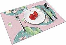 Place Mats Table Mat Cactus Pink Cartoon Table Mat