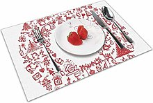 Place Mats Table Mat Christmas Vintage Merry Xmas