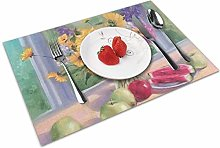 Place Mats Table Mat Flower Painting Table Mat