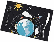 Placemat Galaxy Space Planet Placemats Table Mats