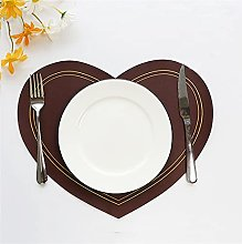 Placemat Heart Shaped Tableware Mat Pu Leather