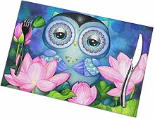 Placemat Owl in Lotus Pond Placemats Table Mats