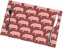Placemat Pink Pig Placemats Table Mats Spring