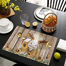 Placemats for Dining Table Set of 4 Cow Sunflower