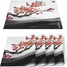 Placemats Set of 6 Beautiful Cherry Tree Chinese