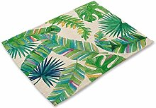 Placemats,Set Of 6 Dining Table Mats Simple Green
