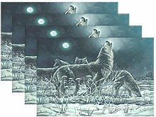 Placemats Set of 6 Full Moon Snow Wolf Non-Slip