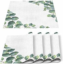 Placemats Set of 6 Green Cute Sprout Eucalyptus