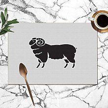 Placemats Set of 6,Isolated Sheep Animals Wildlife