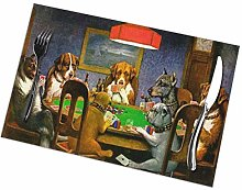 Placemats Set of 6 Poker Playing Dogs Table Mats