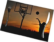 Placemats Set of 6 PVC Basketball Games Dining