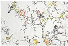 Placemats Set of 6 PVC Birds and Flower Dining