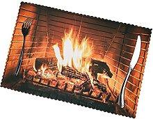 Placemats Set of 6 PVC Burning Firewood Large