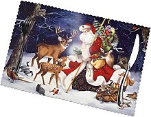 Placemats Set of 6 PVC Christmas Deer Dining Table