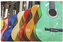 Placemats Set of 6 PVC Colorful Guitar Dining