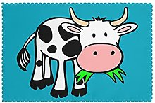 Placemats Set of 6 PVC Cute Cow Dining Table