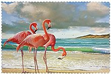 Placemats Set of 6 PVC Flamingos On The Beach