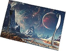 Placemats Set of 6 PVC Galaxy Planet Dining Table