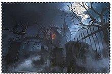 Placemats Set of 6 PVC Halloween Foggy Night