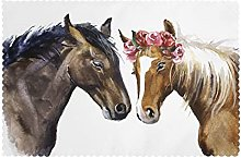 Placemats Set of 6 PVC Horse Lover Couple Dining