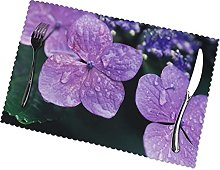 Placemats Set of 6 PVC Hydrangea Flower Dining