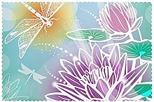 Placemats Set of 6 PVC Lotus and Dragonfly Dining