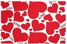 Placemats Set of 6 PVC Love Heart Dining Table