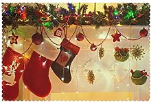 Placemats Set of 6 PVC Merry Christams Stockings