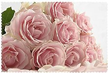 Placemats Set of 6 PVC Pink Roses Dining Table