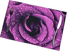 Placemats Set of 6 PVC Purple Rose Dining Table