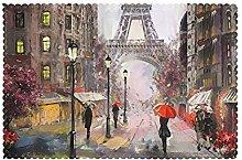 Placemats Set of 6 PVC Rainy Street in Paris