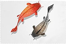 Placemats Set of 6 PVC Red and Black Fish Dining
