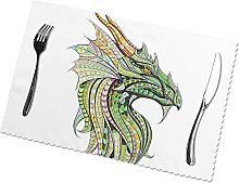 Placemats Set of 6 PVC Retro Style Dining Table