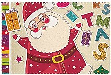 Placemats Set of 6 PVC Santa Claus Dining Table
