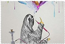 Placemats Set of 6 PVC Sloth Watercolor Sky Dining